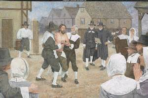 An illustration of the public whipping of Obadiah Holmes, a baptist preacher by Puritan authorities of Massachusetts.