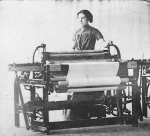 Girl at factory loom, 19th century.