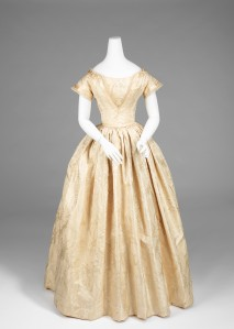 American, silk wedding dress 1845-1850.