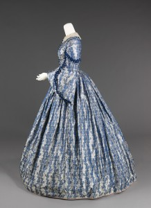 American Wedding Dress circa 1860, blue print, solid blue trim.