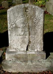Gravestone of Angeline (Evans) Hathaway in Oak Grove Cemetery, New Bedford, MA