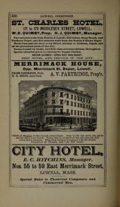 Advertisement for the Hotel Charles in Lowell, MA