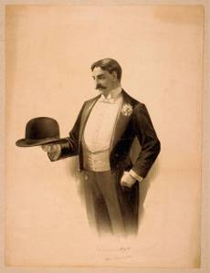 H.A. Thomas & Wylie. (ca. 1896) Man Wearing Tuxedo, Holding Bowler Hat. , ca. 1896. [N.Y.: H.A. Thomas & Wylie Litho. Co] [Photograph] Retrieved from the Library of Congress